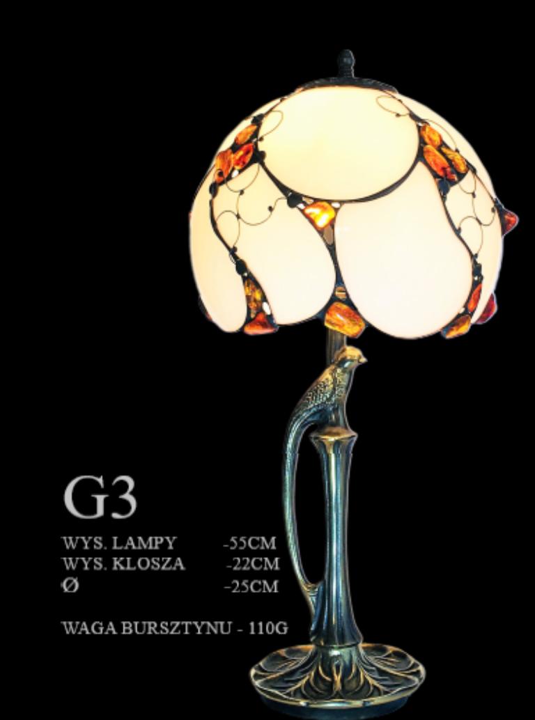 Lampa gabinetowa G3 , szklana z bursztynem
